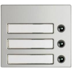 Frontal 3 pulsadores 1 columna Aluminio.